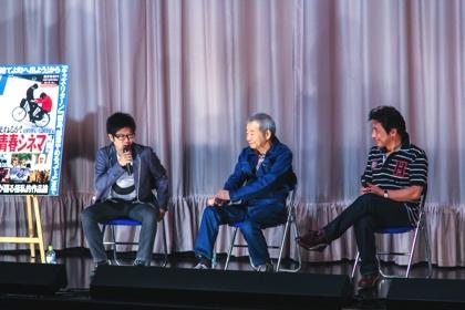 和田誠さんと映画と私 和田さん、そして女衒の達役の加藤健一さんとともに舞台でトークを繰り広げ..