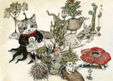 """「猫好き」たちを魅了する絵本作家・ヒグチユウコの、 ちょっと""""ダークでニヒル""""な空想の世界へ。"""